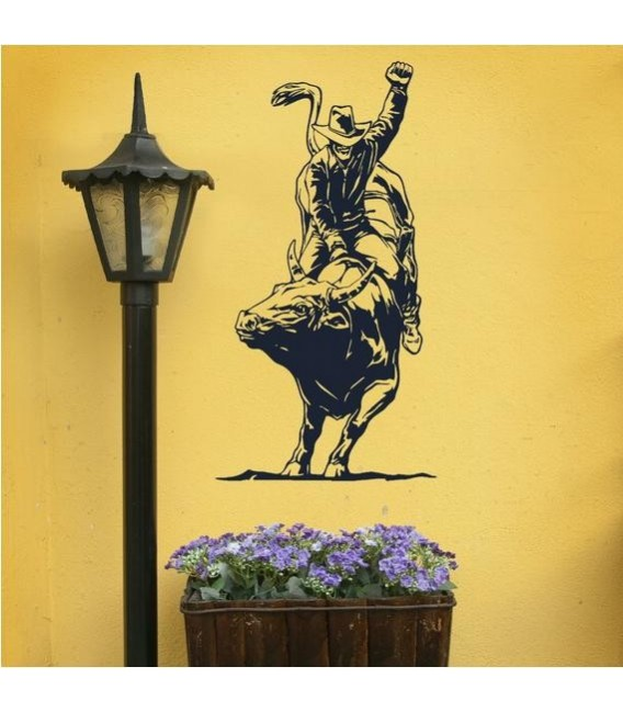 Cowboy rides on the bull, art giant wall sticker.
