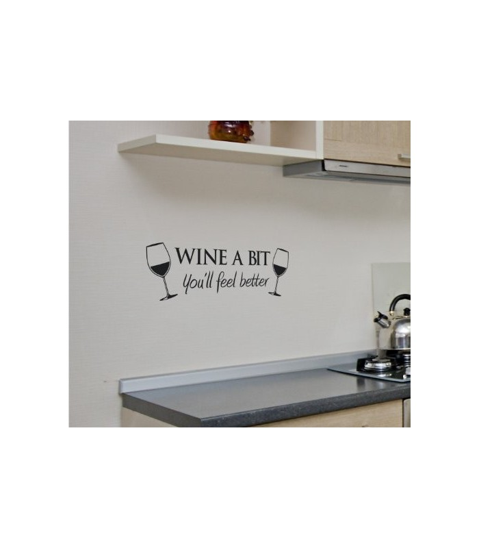Wine A Bit With Two Glasses Of Wine Wall Art Sticker Wall Art Decal