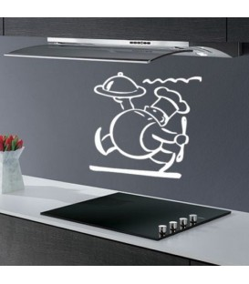 Cook with a tray kitchen wall sticker.