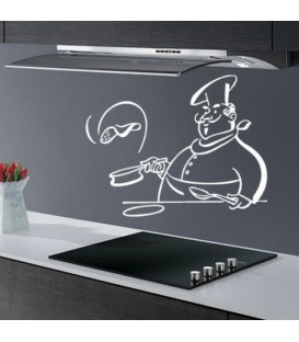 Chef preparing pancakes, kitchen decorative wall sticker.