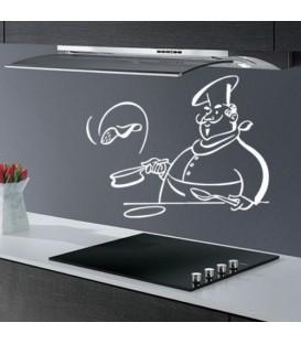 Chef preparing pancakes, kitchen decorative wall sticker.