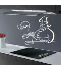 Chef preparing pancakes, kitchen wall sticker.