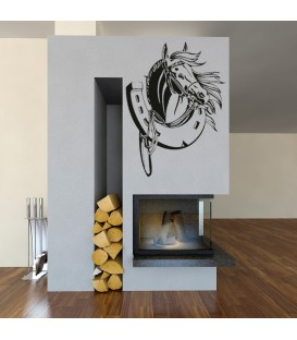Horse and horseshoe, vinyl wall stickers. Home decor.