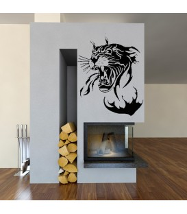 Panther head art giant wall sticker, wall graphics for living room decoration.
