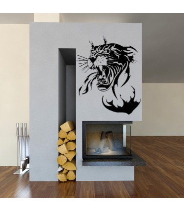 Panther head art giant wall sticker for living room decoration.