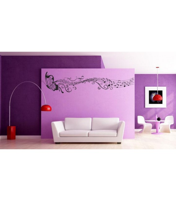 Flying butterfly and musical notes living room wall sticker.