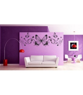 Butterflies and wines wall decal, butterflies wall art stickers for living room.