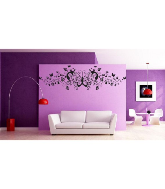 Art butterfly and wines living room wall sticker.