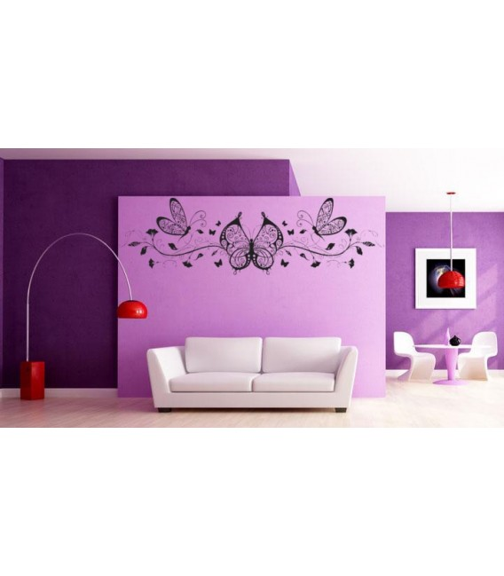Beautiful butterflies and wines, art wall stickers for living room.