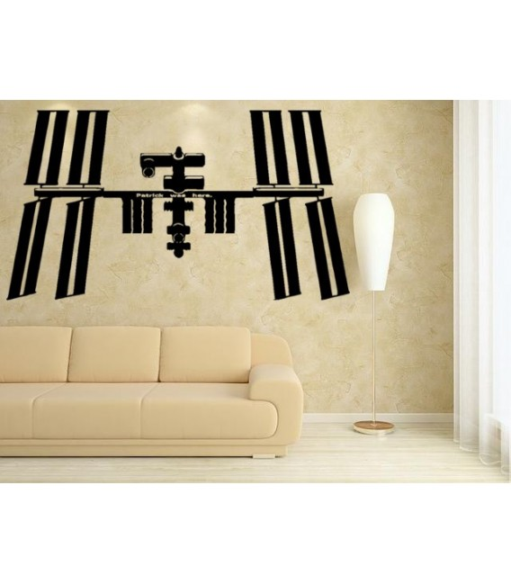Space station with child name on it, boy bedroom wall decal.