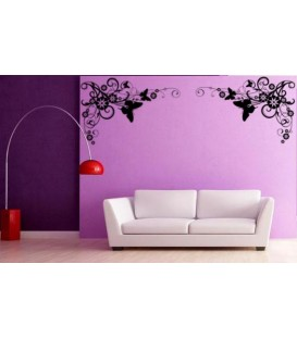 Artistic flower border corner wall decal, living room decorative wall sticker, wall graphics.