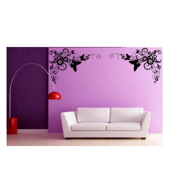 Artistic flower border corner wall decal, living room decorative wall sticker.