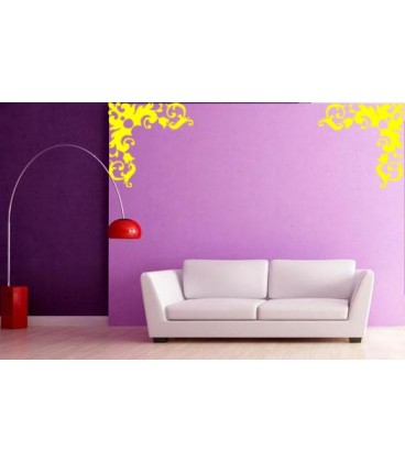 Flower border corner wall decal, living room decorative wall sticker, wall graphics.