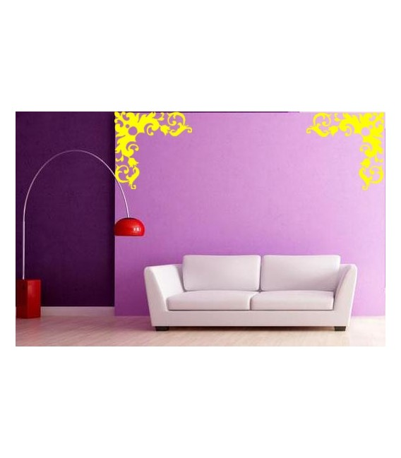 Flower border corner wall decal, living room decorative wall sticker.
