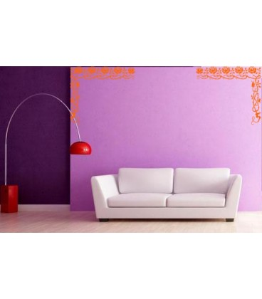 Rose flowers border corner wall decal, living room decorative wall sticker, wall graphics.