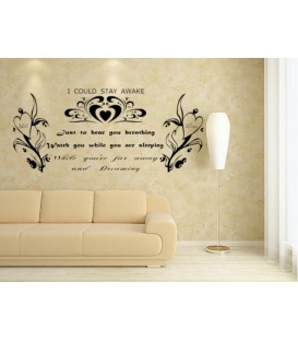 Romantic wording lovers bedroom wall decal. The wall sticker, bedroom wall graphics, wall decals.
