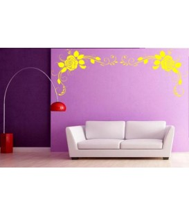 Rose flower art wall decal, living room decorative wall sticker, wall graphics.