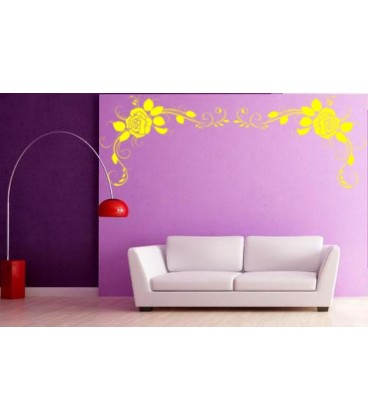 Rose Flower Art Wall Decal Living Room Decorative Sticker Graphics