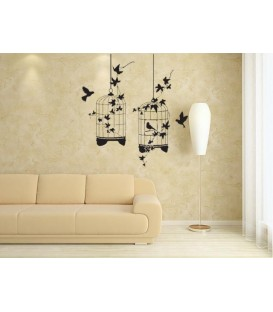 Birds in cage wall art stickers, wall art decal for bedroom. Birds painting stencil.