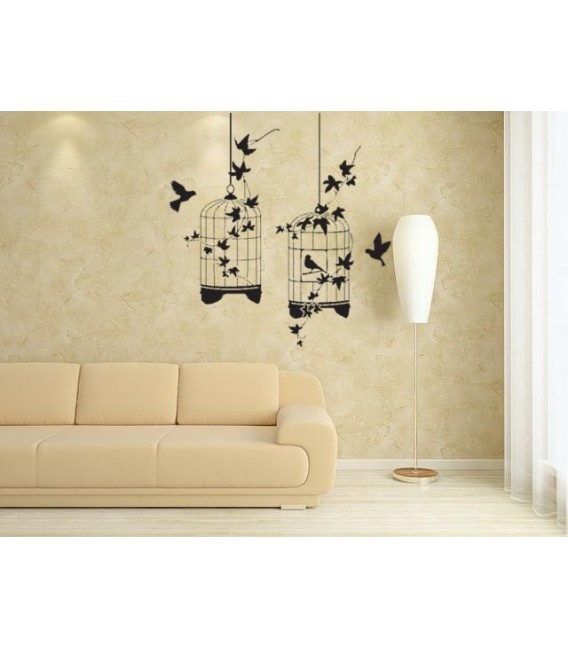 Birds in cage wall art stickers, wall art decal for bedroom.