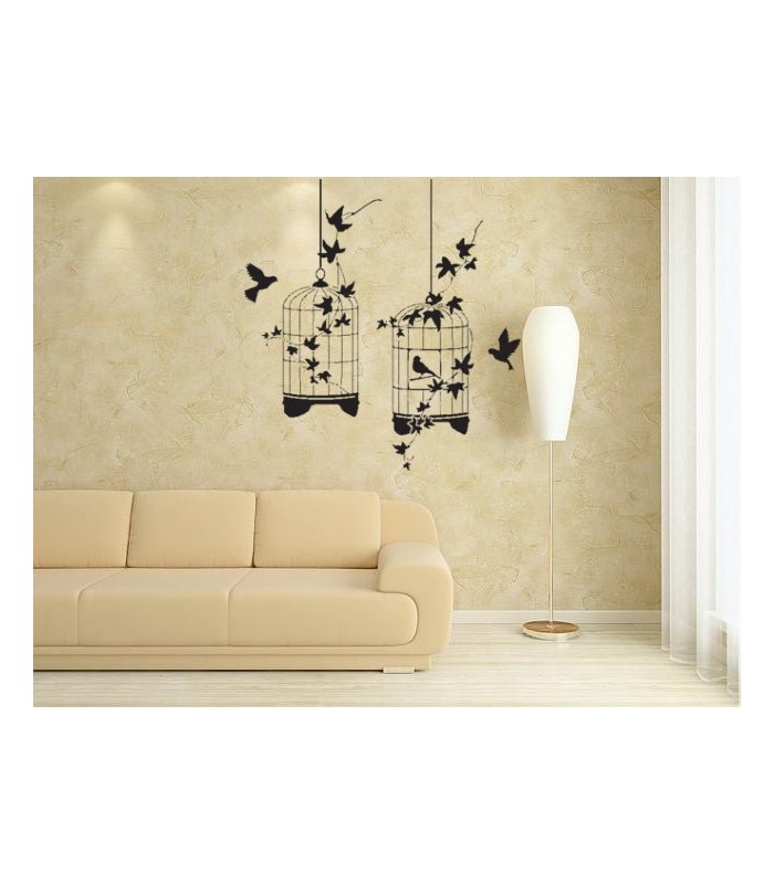 Birds and cages, wild animals wall decal.