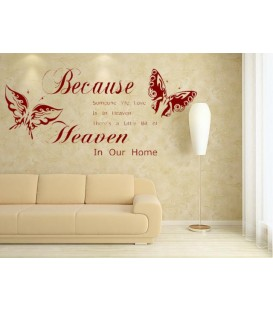 Because Someone We Love Is In Heaven quotes sayings words home decor wall stickers art decals vinyl room decor