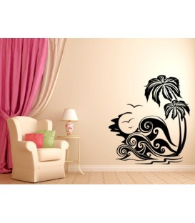Beach coconut trees and sea waves wall decal,waterproof vinyl stickers art decoration, coconut wall graphics.