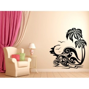 Beach coconut trees and sea waves wall decal,waterproof vinyl stickers art decoration.