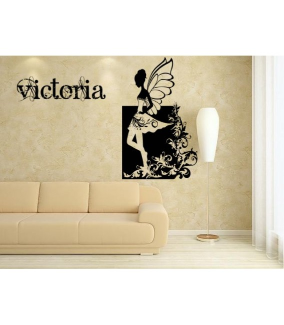 Fairy kids bedroom giant wall sticker UK, fairy personalised wall art decal, wall graphics.