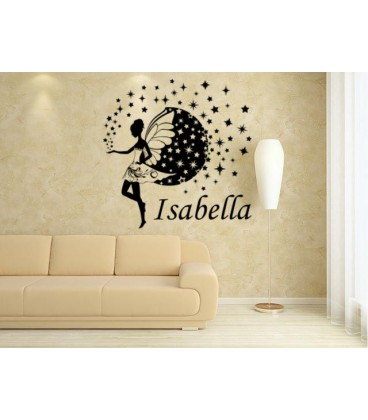 Fairy and stars kids bedroom giant wall sticker UK fairy personalised wall art decal  sc 1 st  Bargains-zone & Fairy for girl bedroom decoration wall art sticker fairy wall decal.