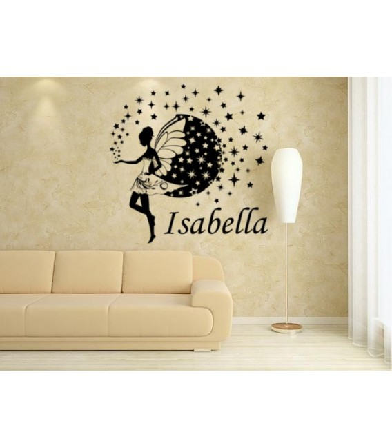 Fairy and stars kids bedroom giant wall sticker UK, fairy personalised wall art decal, wall graphics.