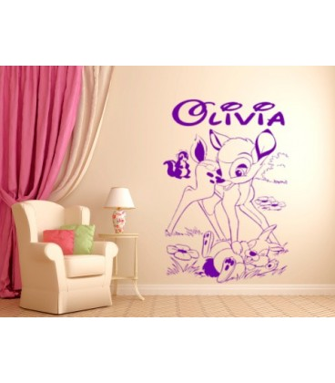 Bambi deer and friends personalised wall graphics sticker kids bedroom giant wall sticker uk