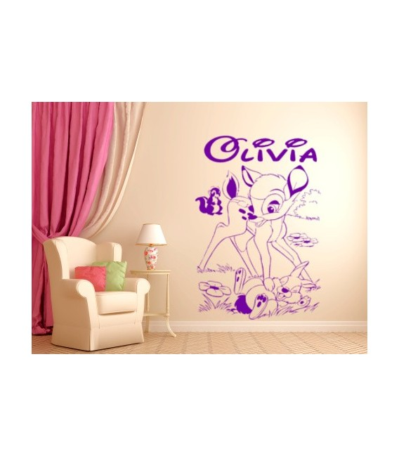 Bambi deer and friends,  personalised wall graphics sticker, kids bedroom giant wall sticker UK.