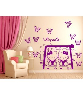 Hello Kitty personalised girls bedroom wall sticker kit, hello kitty on a swing wall decal.