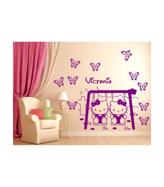 Hello Kitty personalised girls bedroom wall sticker, hello kitty on a swing wall decal.