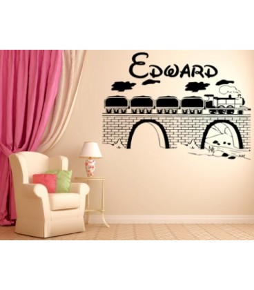 Train on the bridge wall decal boys bedroom personalized giant decorative wall art sticker, wall graphic.