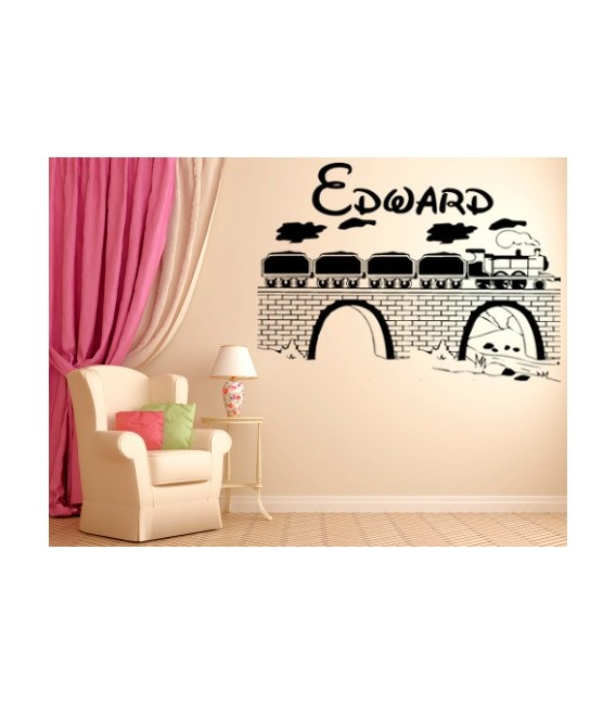Train on the bridge wall decal boys bedroom personalized giant wall sticker.