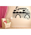 Train on the bridge boy bedroom personalized wall sticker.