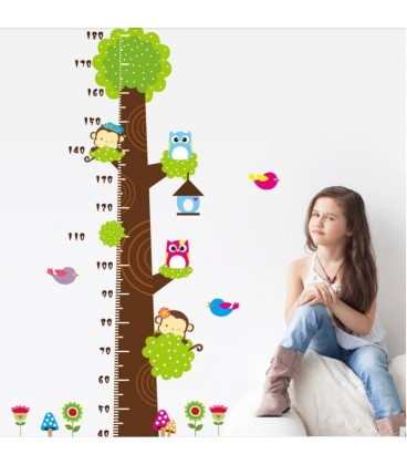 Monkey and owl height childrens tree jungle kids nursery room printed vinyl sticker, bedroom tree wall sticker for kids rooms.