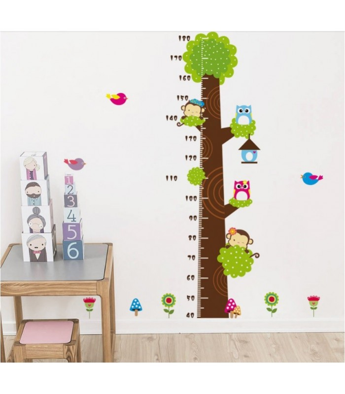Monkey And Owl Children Height Decor Tree Wall Sticker For Kids Rooms