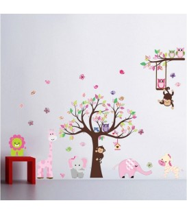 Animal owl bird flower tree monkey wall stickers bedroom printed vinyl sticker.