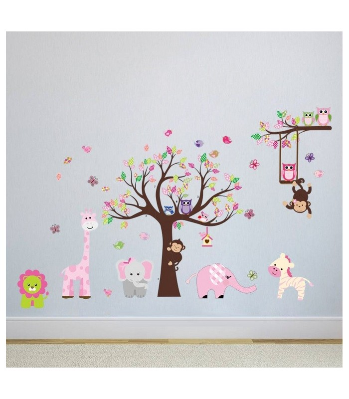 Animals Jungle Wall Stickers Bedroom Printed Vinyl Wall Decals