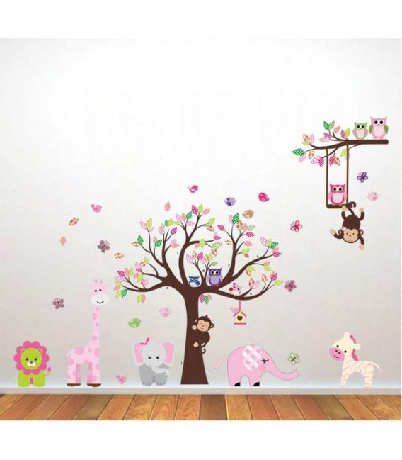 Animal owl bird flower tree monkey wall stickers bedroom printed vinyl sticker.