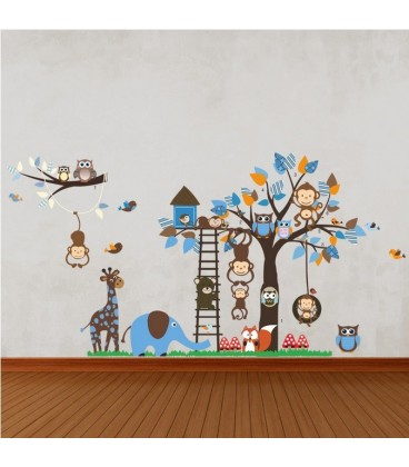Owl monkeys squirrel wall stickers animal flower tree butterfly room printed vinyl sticker.