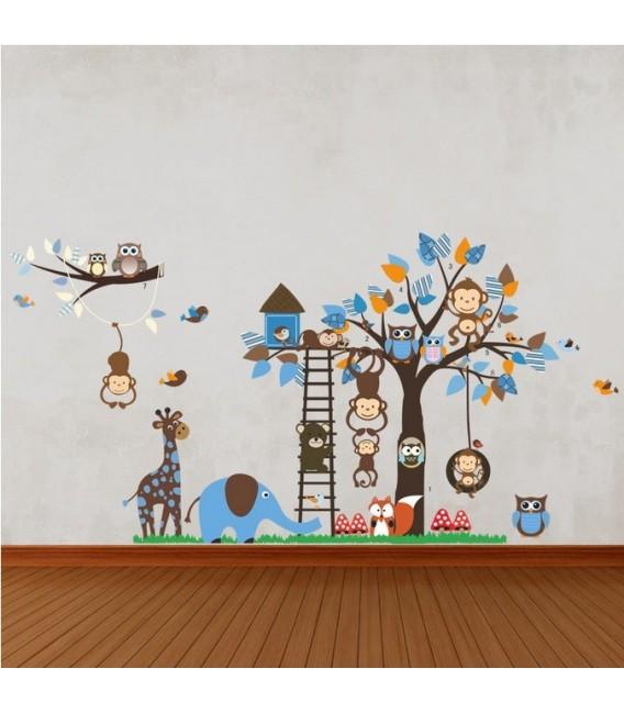 Owl monkeys squirrel wall stickers animal flower tree butterfly room printed vinyl sticker.