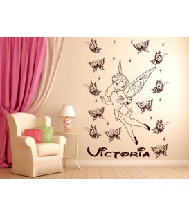 Tinkerbell personalised girls bedroom wall sticker kit, Fairy childrens bedroom decals.