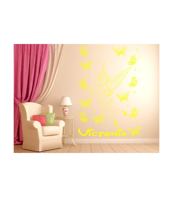 Tinkerbell personalised girls bedroom wall sticker, Fairy childrens bedroom decals.