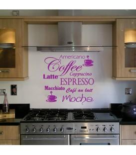 Coffee Mocha Latte Espresso wall art sticker vinyl splash back kitchen cappuccino.