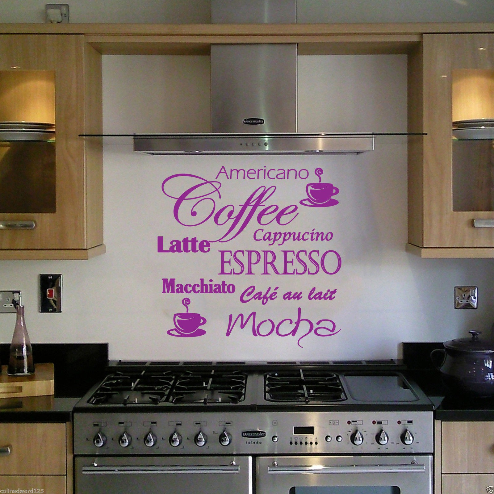 Coffee Latte Mocha Wall Art Decal For Kitchen Wall Decoration