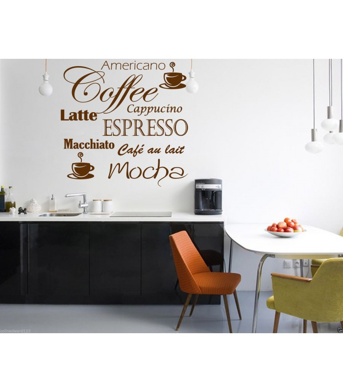 Coffee Espresso Latte Cafe Ivory Brown Kitchen Curtains: Coffee Latte Mocha Wall Art Decal For Kitchen Wall Decoration